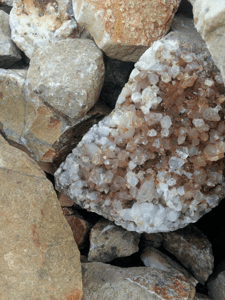A crystal cluster Genn John found at the crystal mine