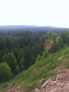 Genn John 's view of the Ouachitas from the edge of Ron Coleman's crystal mine