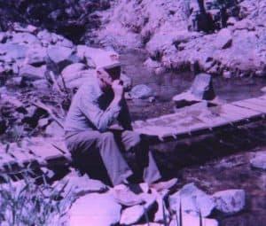 Grandpappy taking a break from rock hounding