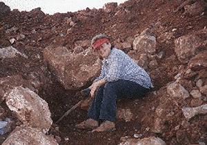 Susan, Genn's mom digging crystal