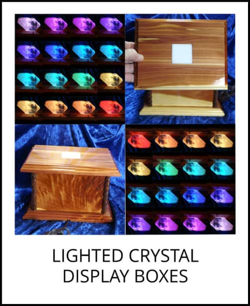 image: hand-crafted lighted crystal display boxes at Arkansas Crystal Works