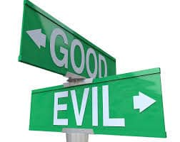 picture of good and evil street signs